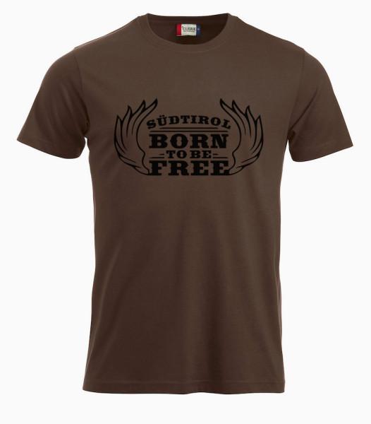 T-shirt-braun-Born-to-be-free