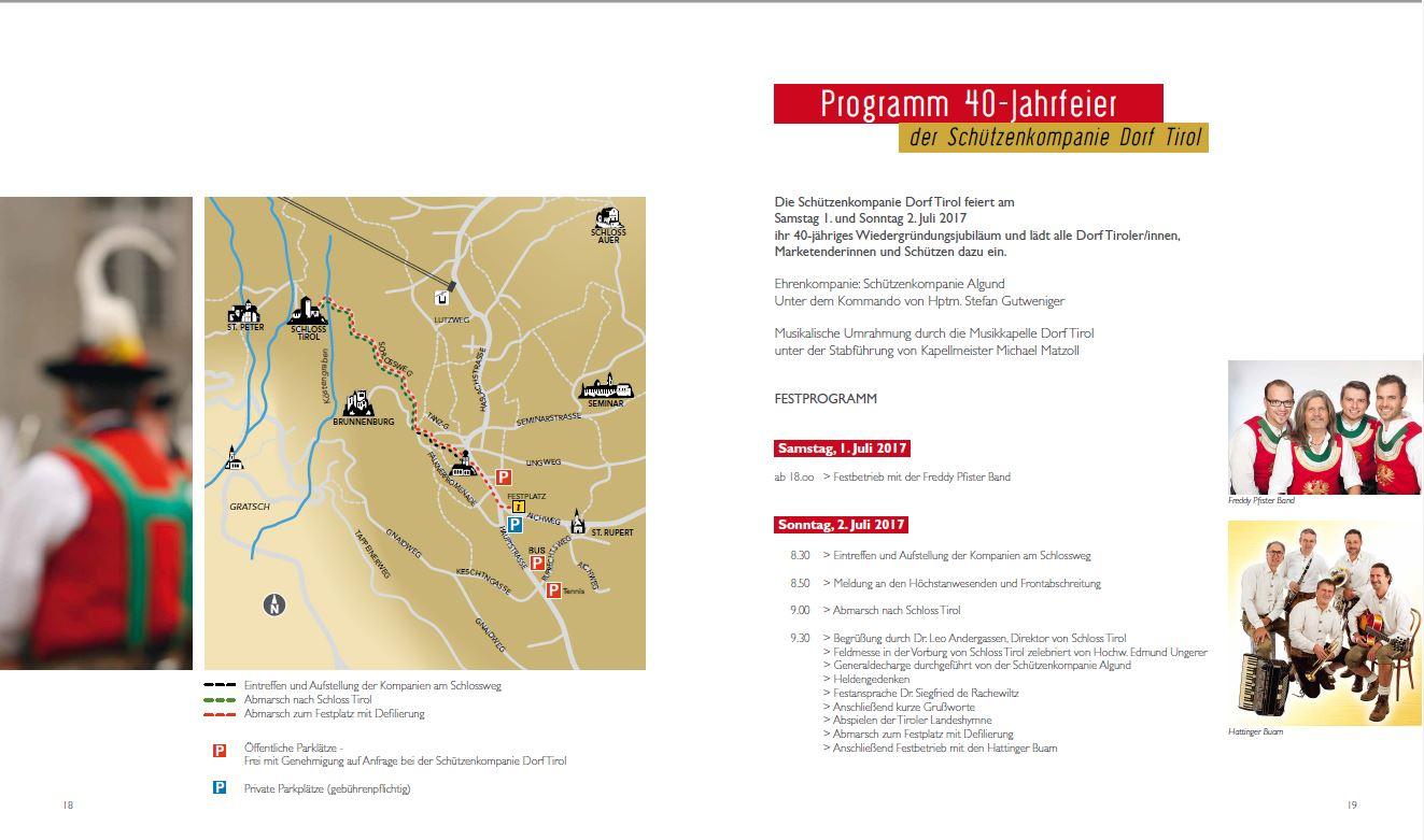 Programm 40-Jahrfeier Schützenkompanie Dorf Tirol