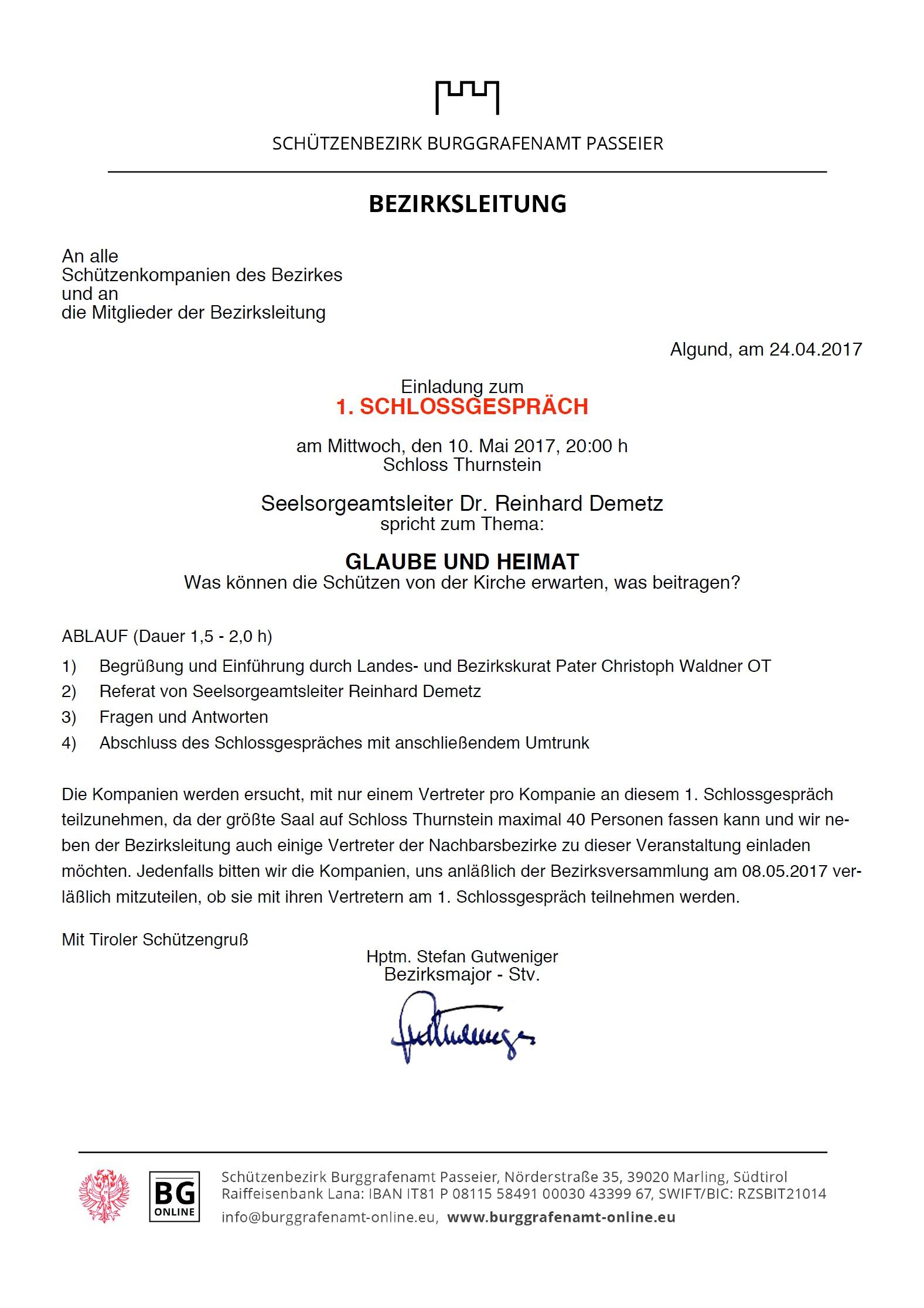 2017.05.10 - 1. Schlossgespräch auf Schloss Thurnstein