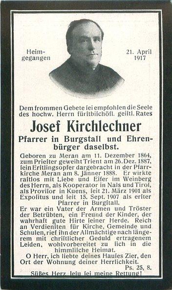 2017_Burgstall_100. Todestag Pfarrer Josef Kirchlechner Sterbebild(3)