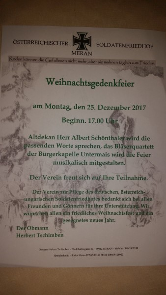 WEIHNACHTSGEDENKFEIER 2017