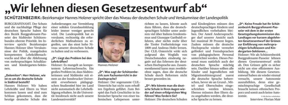 BGP-Interview mit Hannes Holzner, Dolomiten, 17.07.2019
