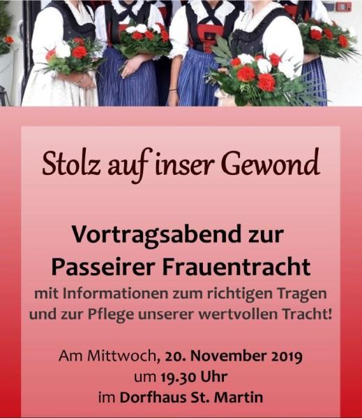 2019_St.Martin Passeier_Einladung Vortrag Passeirer Frauentracht