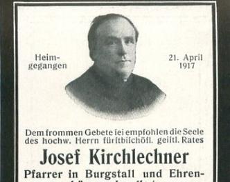 2017_Burgstall_100. Todestag Pfarrer Josef Kirchlechner Sterbebild(3)klein