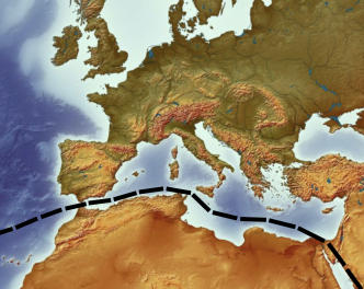 Europa Karte Satelit Grenze Mittelmeer 01